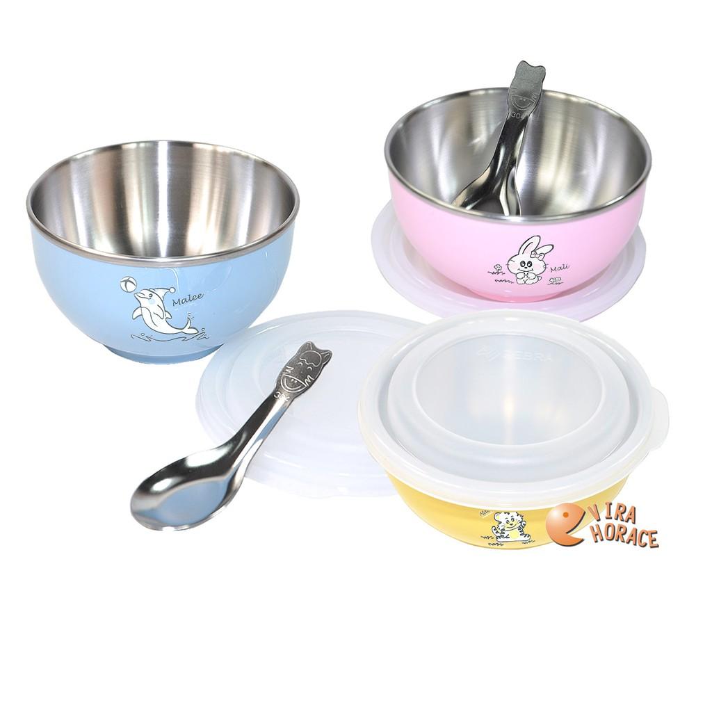 Zebra斑馬兒童碗(附蓋和湯匙)304不鏽鋼 輕巧易握 防燙手 彩色不鏽鋼隔熱寶寶碗 隔熱寶寶碗 HORACE