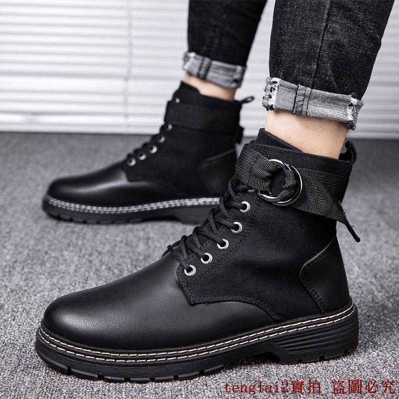 歐美爆款馬丁靴男潮靴冬季新款軍靴黑色高筒皮靴高幫鞋工裝潮流男靴子