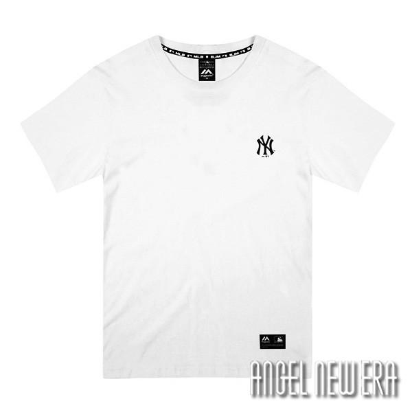 【Majestic】MLB NY 紐約洋基 背後大Logo 流行短T T恤 象牙白 休閒【ANGEL NEW ERA】