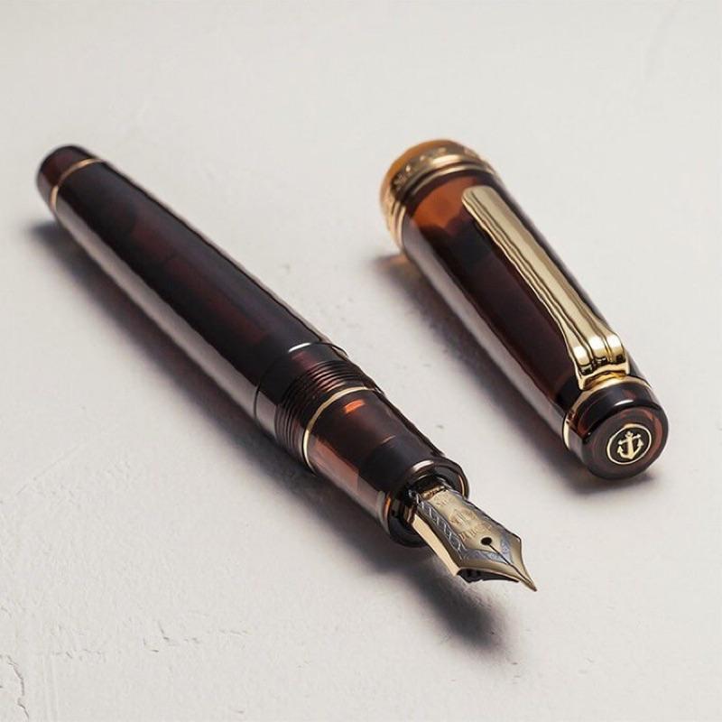 [預購]Wancher限定 Sailor寫樂 摩卡咖啡 PG平頂大桿 21K 金夾雙色尖 透明鋼筆