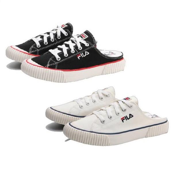 Fila bumper mule 韓版 白色 黑色 懶人鞋 帆布鞋 現貨