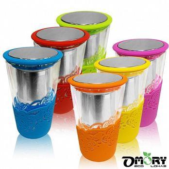 OMORY 不鏽鋼濾網 雙層耐熱 玻璃杯 附蓋350ml 雙層杯 泡茶杯