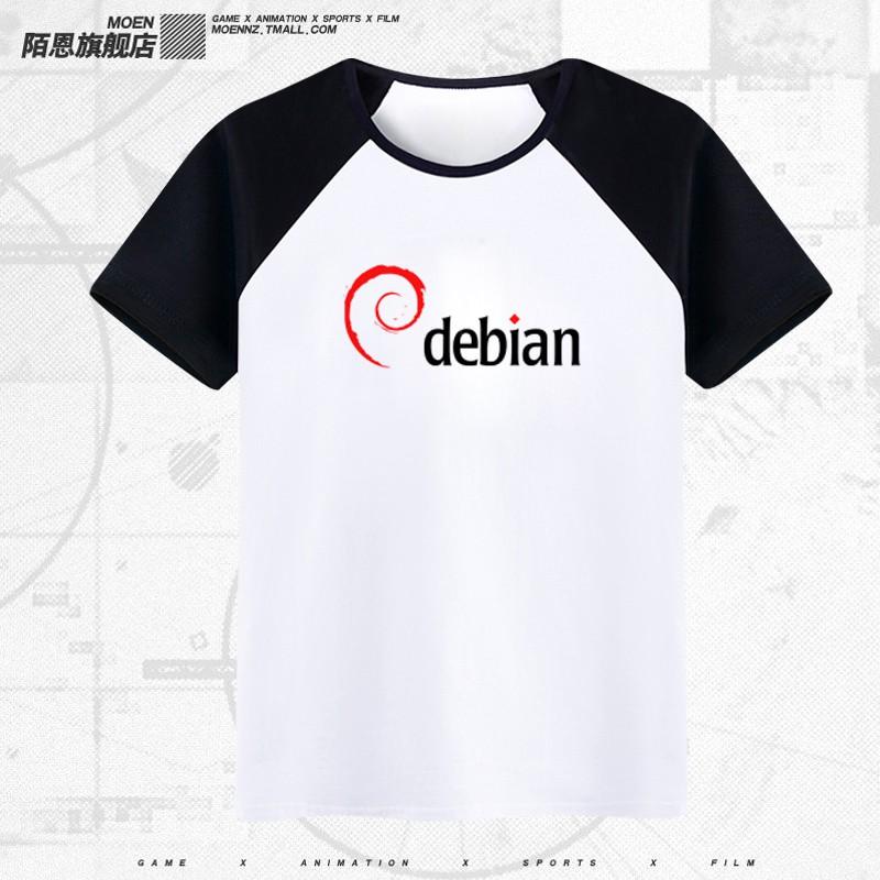 程序員德班塞班 debian logo萊卡青少年男女情侶圓領純棉短袖T恤