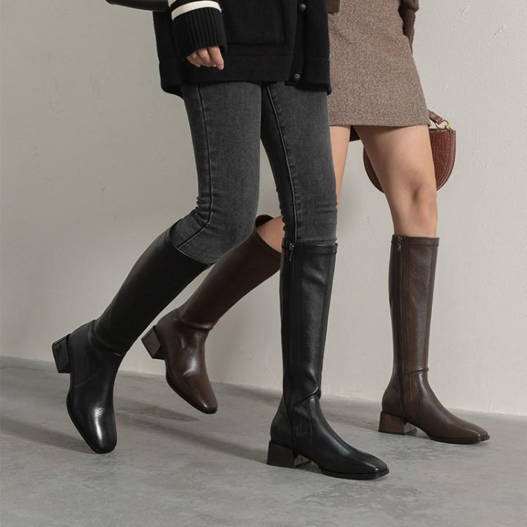 保暖2020秋冬新款彈力靴真皮高筒靴側拉鏈中跟女靴方跟騎士靴