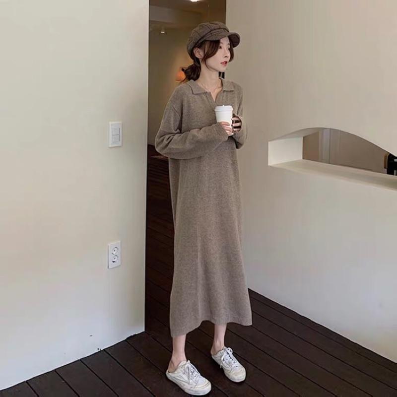Deer 溫暖來自何方韓國v領長款開衩針織裙2色