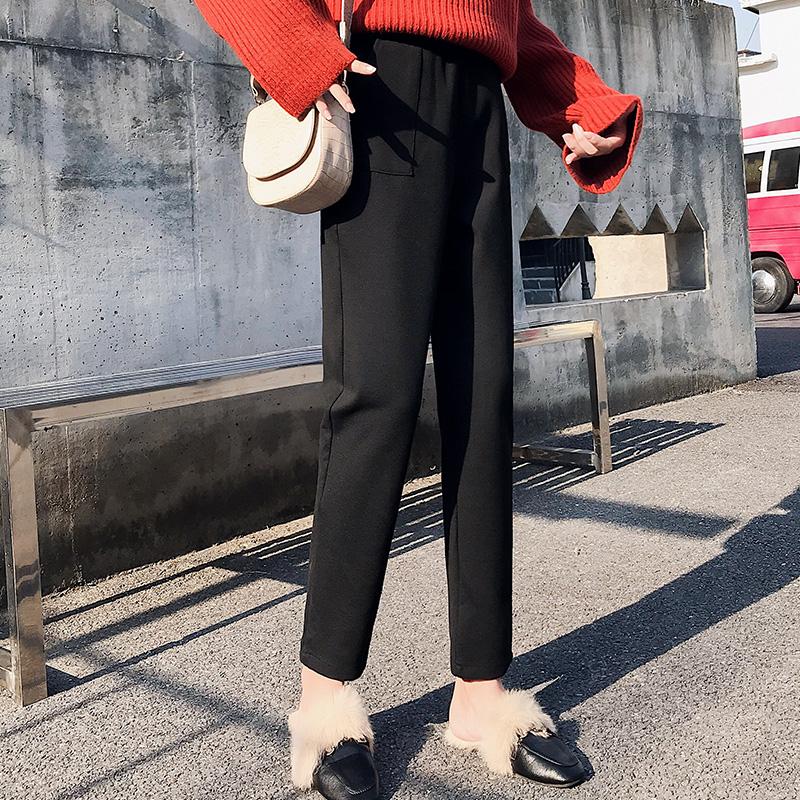 【現貨】鬆束腰毛呢窄管休閒褲寬鬆顯瘦素面簡約百搭韓版學生韓妞必備九分褲直筒褲女