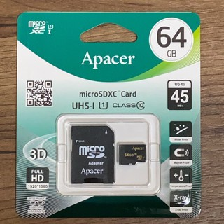 Apacer宇瞻 micro SD卡 XC U1 C10 64G記憶卡(附轉卡) 【官方原裝全新正品】【台灣出貨】 南投縣