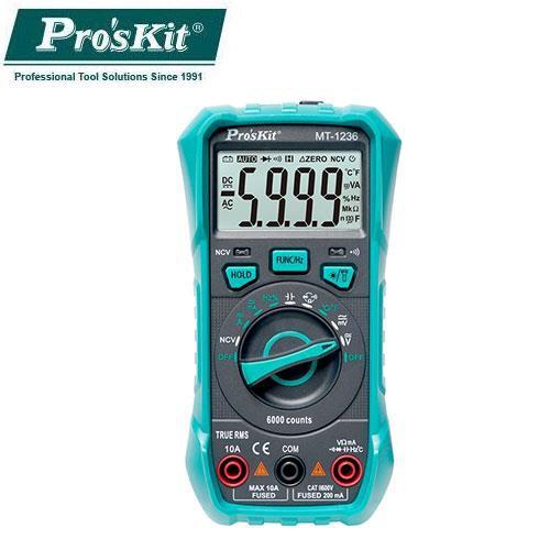 Pro'sKit寶工3-5/6自動量程真有效值數位電錶MT-1236