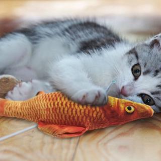 貓玩具貓薄荷魚抱枕寵物磨牙貓薄荷逗貓棒老鼠小貓抱枕仿真草鯽魚