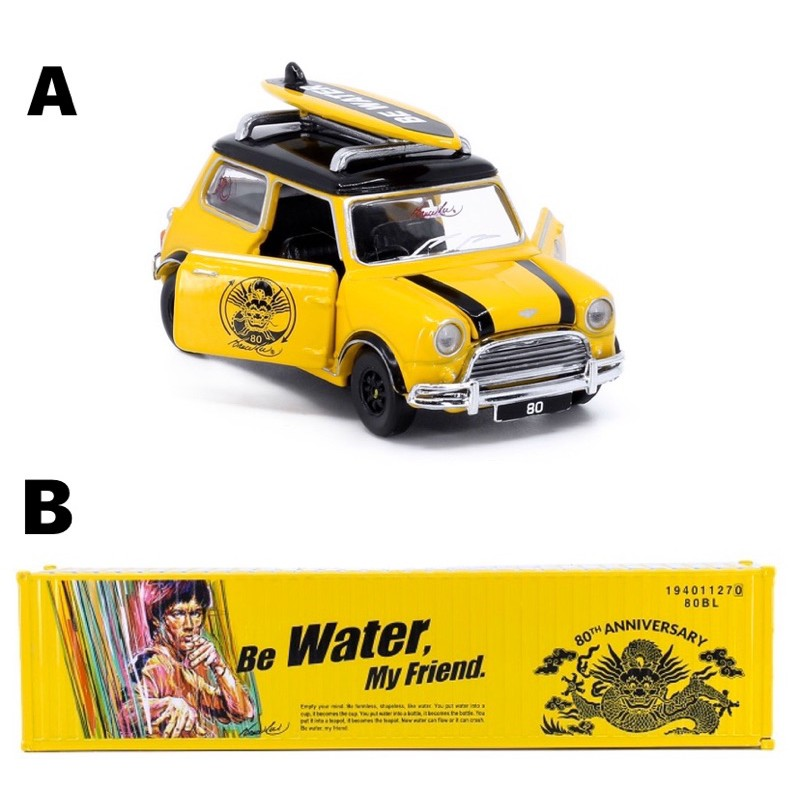現貨 老周微影 Tiny 李小龍 黃色 Mini Cooper 附衝浪板 老咪 貨櫃 合金模型車 Mini Gt 多美