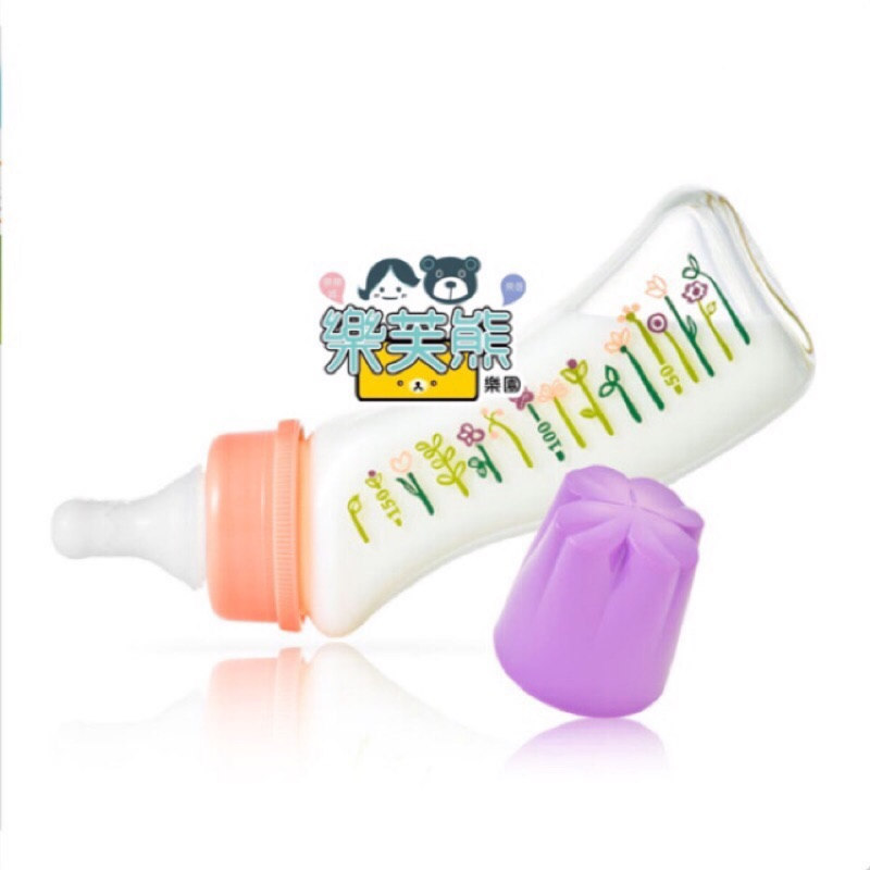 日本製 Dr.Betta 玻璃 flower 奶瓶 GF4-150ml 花花 手作防脹氣奶瓶 奶嘴