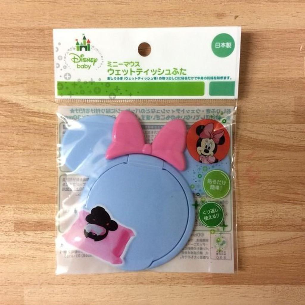 日本迪士尼造型濕紙巾盒蓋-粉藍米妮