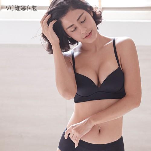 VC維娜私物|無鋼圈內衣simple Bra緞面款bralette-黑色-36007