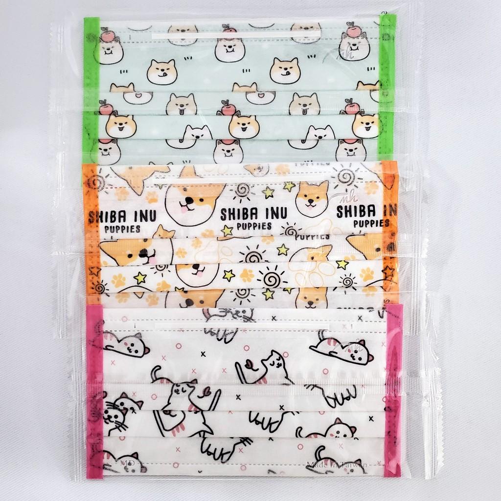 [贈80抽加蓋溼紙巾]台灣製 成人醫療平面口罩 柴犬圖案 貓咪圖案 小狗圖案 貓狗印花 獨立單片包裝 30入/盒