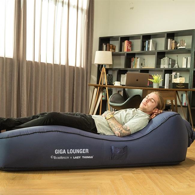 反射鏡面&Lazy things GIGA LOUNGER一鍵自動充氣應急休閑沙灘床CS1野餐戶外床單人辦公午休便攜陪護
