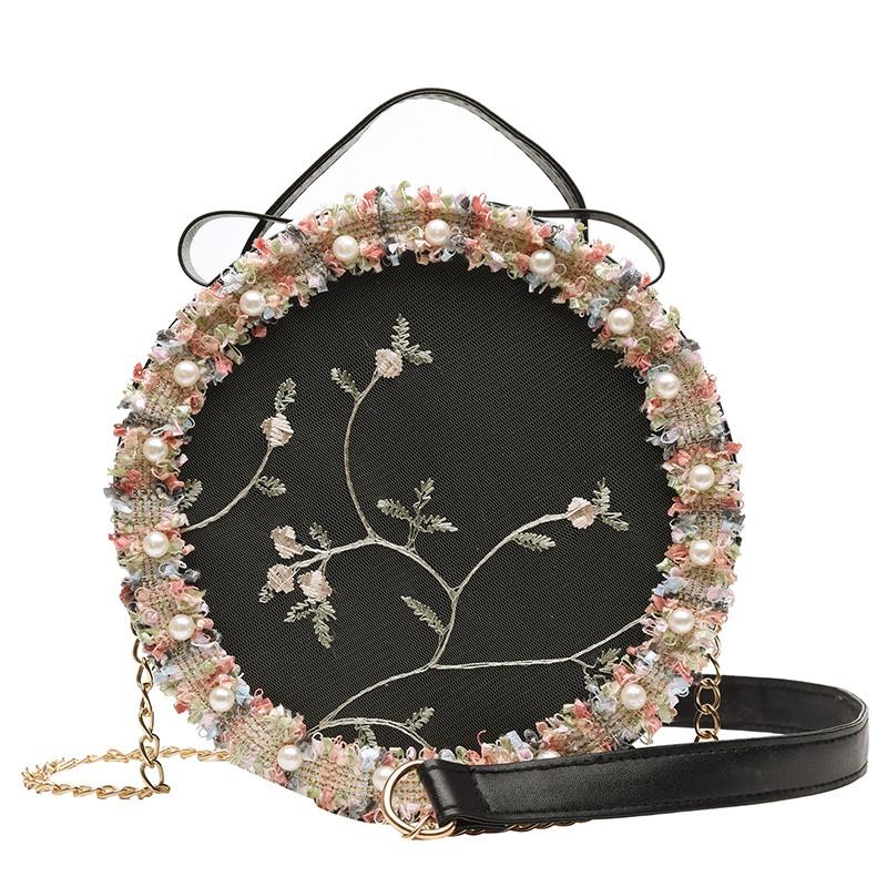 刺繡包 小包包春夏新品百搭仙女包包時尚蕾絲繡花小圓包單肩斜挎女包