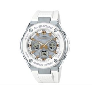 [CASIO G-SHOCK: G-STEEL系列 質感太陽能不鏽鋼霸氣雙顯腕錶-白X銀框]ST-S300-7A 高雄市