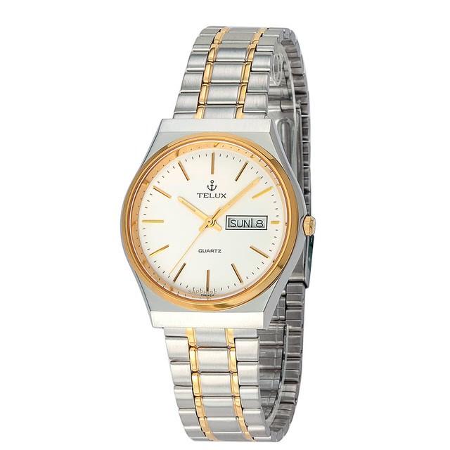 台灣品牌手錶腕錶【TELUX鐵力士】經典簡約腕錶35mm台灣製造石英錶7500TG-W12中金白面金釘另有女款