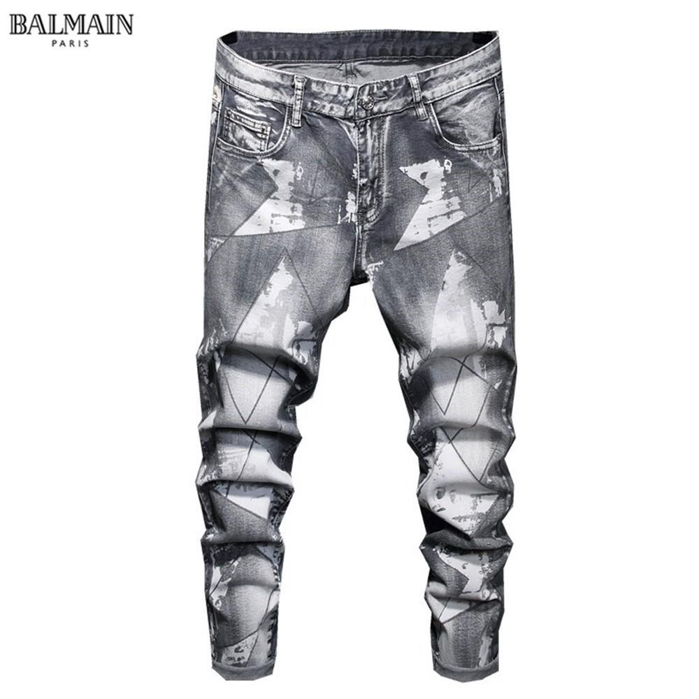 歐美BALMAIN丹寧牛仔長褲 時尚牛仔褲 巴爾曼牛仔褲 秋冬水洗手工磨破 個性牛仔褲