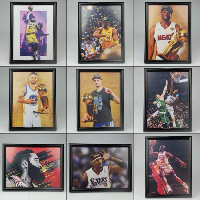 ??實物拍攝 NBA LBJ Curry Jordan 湖人 相框畫 壁畫 版畫 家飾品 海報 籃球 球星 wade