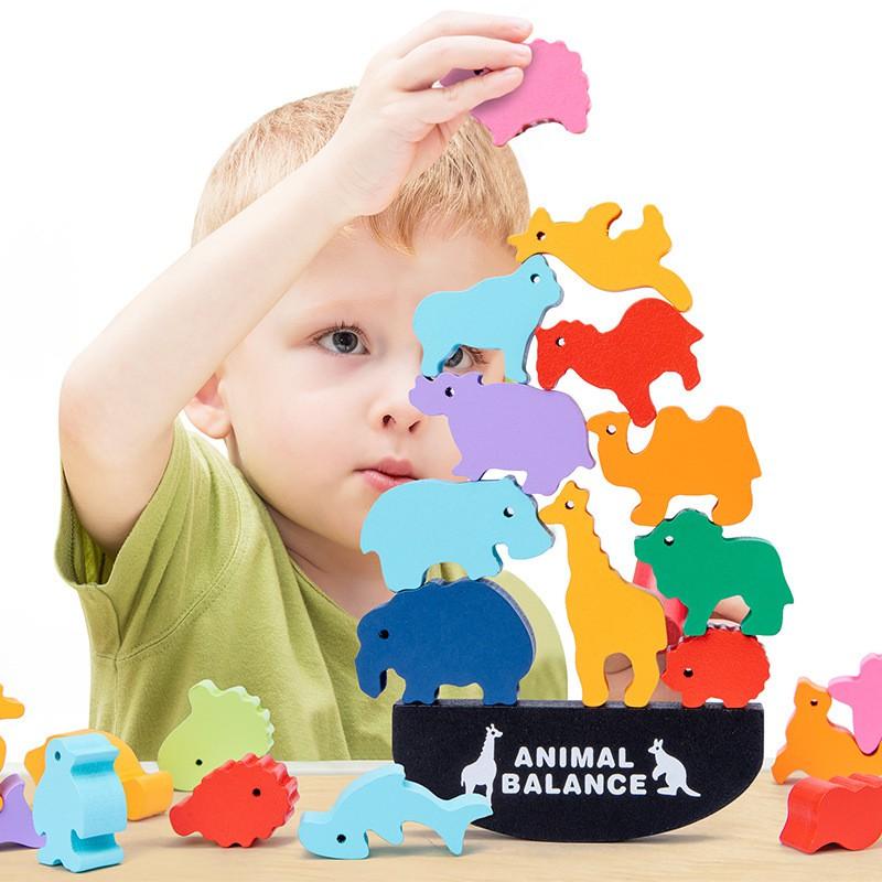 森林動物平衡疊疊高恐龍游戲蹺蹺板兒童益智手眼協調早教木制玩具