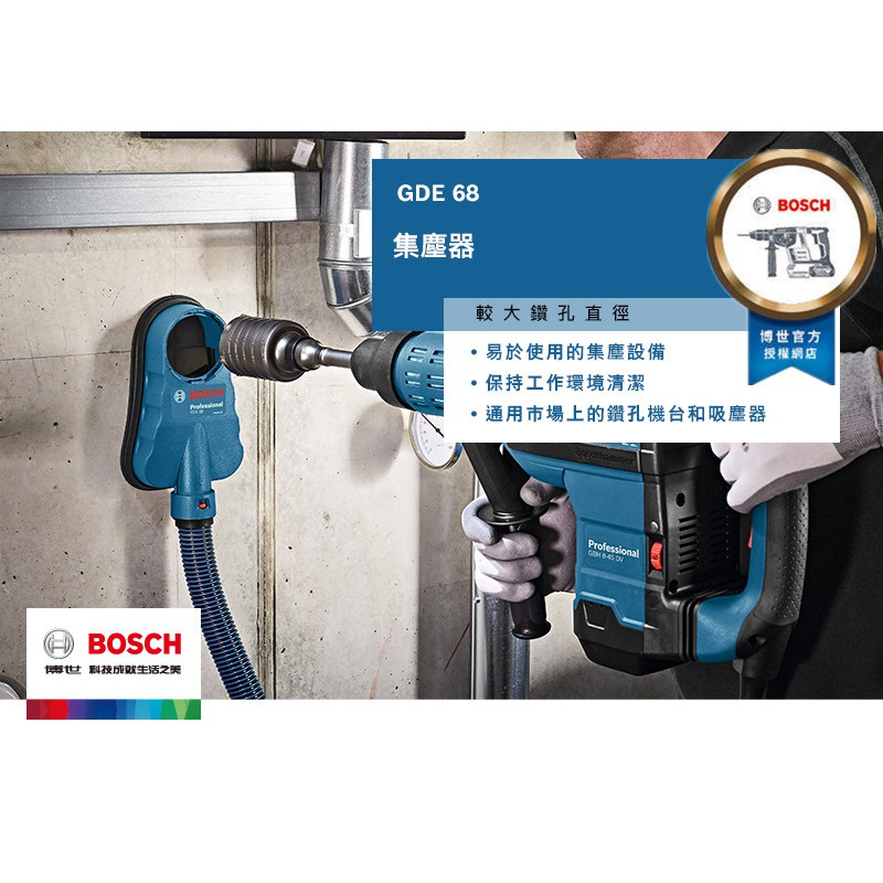 台北益昌 BOSCH 博世 鎚鑽 槌鑽 鎚鑽 電鑽 專用 集塵器 GDE 68