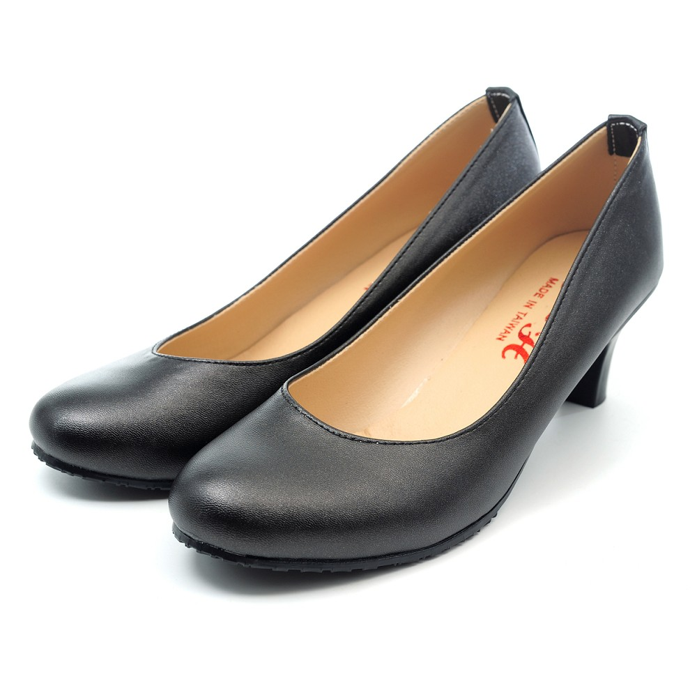 【101玩SHOES】MIT OL必備低跟素雅簡約女鞋中跟包鞋-黑色 35-40