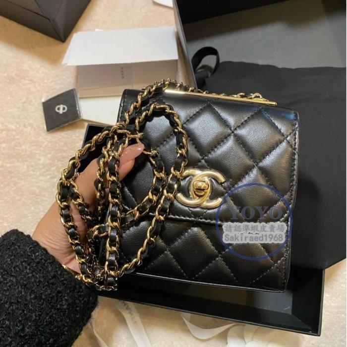 YOYO 二手精品專賣店 chanel 香奈兒 Trendy mini 黑色羊皮菱格紋 側背包 A81633 現貨