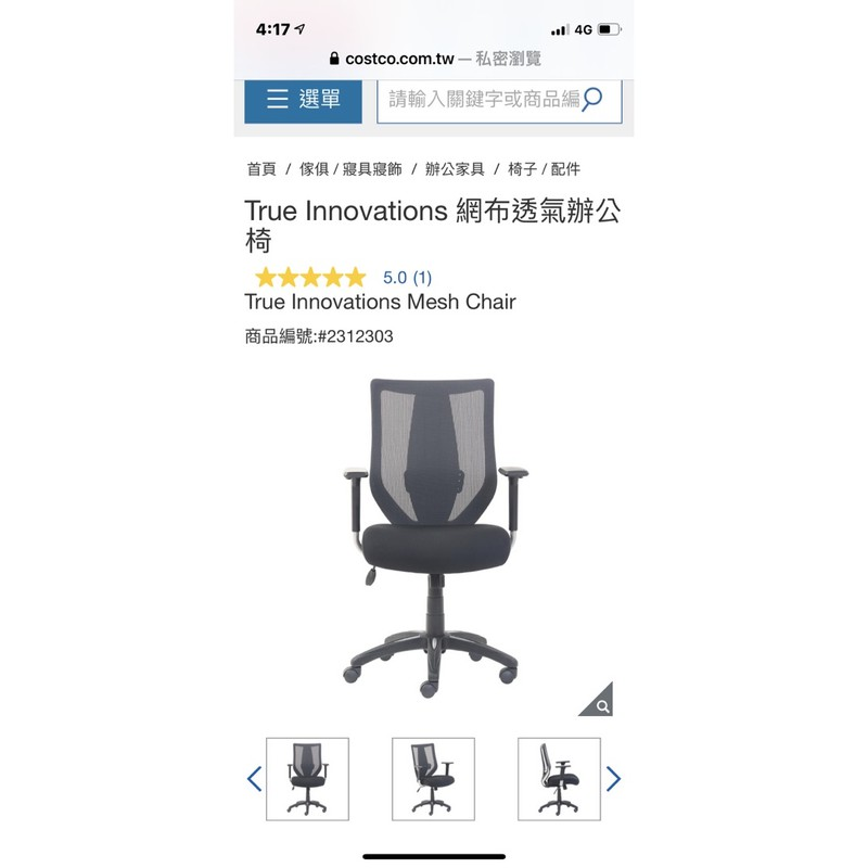 True Innovations 網布透氣辦公椅