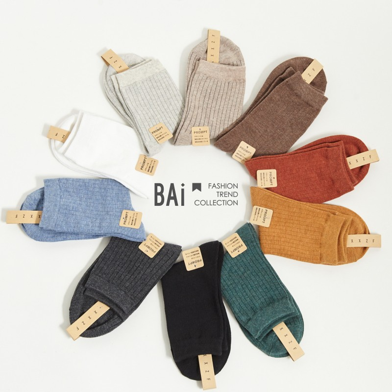 BAI e-shop 多色直線坑條彈性中筒短襪-【308006】