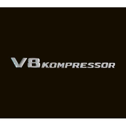 ~圓夢工廠~ BENZ 賓士E class W210 W211 V8 kompressor 葉子板字貼 鍍鉻車身字貼