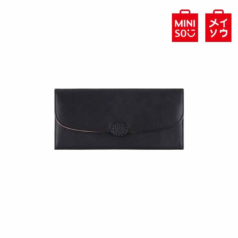 【MINISO名創優品】簡約五金長款三折錢包(黑 色)(2007652313104)