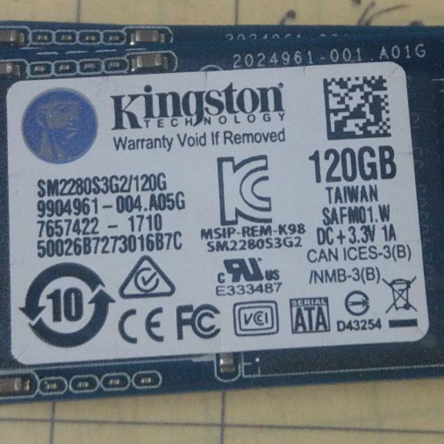 Kingston 金士頓 120GB SSM2280S3G2 M 2 SSD 固態硬碟(原廠保固內)