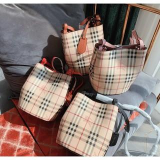 巴寶莉 BURBERRY戰馬女士水桶包Canvas格紋皮革水桶包 手提包 單肩斜挎包 側背包 時尚休閒潮流 大容量購物袋 基隆市