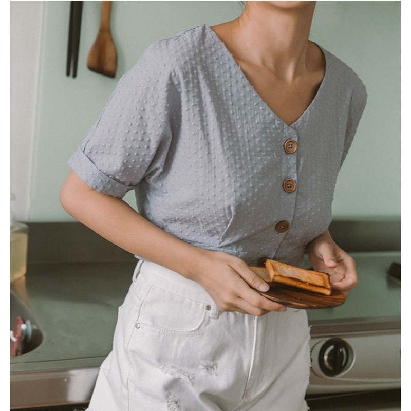#Mercci22 圓點刺繡排釦短版上衣 M 水藍 全新僅試穿