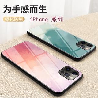水彩畫玻璃殼適用iPhone 12/ 11 Pro Max/ XS MAX 防摔殼XR/ X保護套8/ 7蘋果手機殼