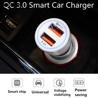 🚩汽車車充🚩6A QC 3.0 光環車充雙USB線路QC3.0+3.1A車載充電器點煙器