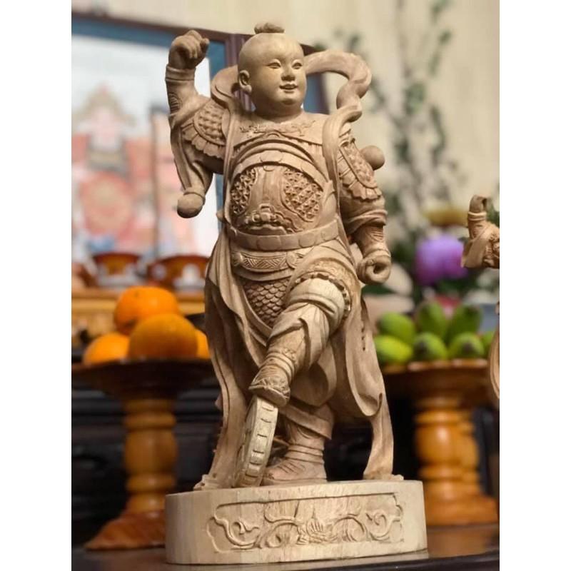 「華誠坊」 1尺3 錦雕樟木白身 中壇元帥 天地手 太子爺 三太子 金身神像