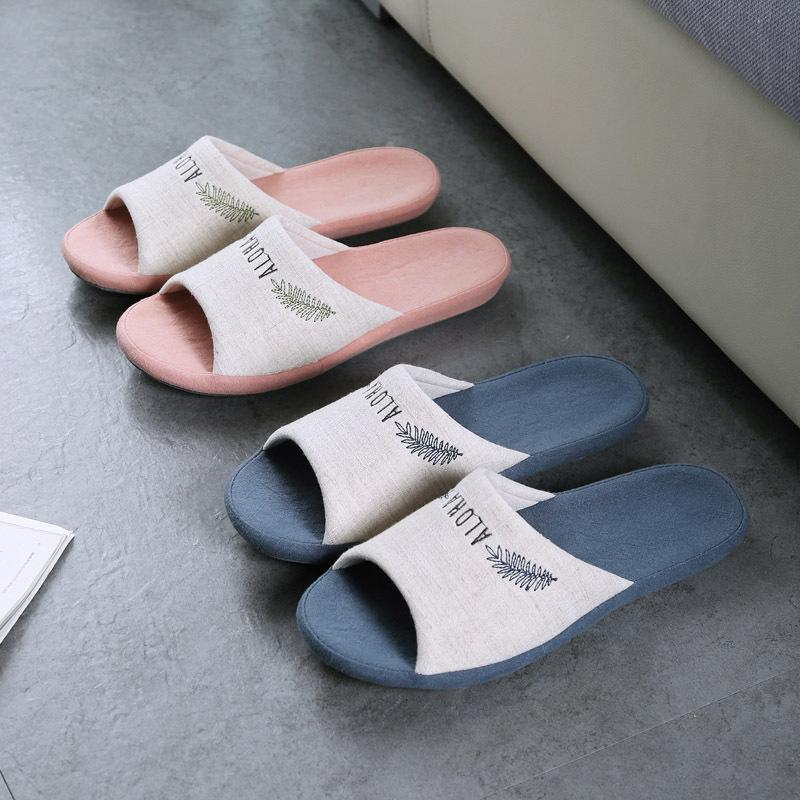 2021年春夏新日式棉麻居家地板防滑室內男女情侶盆底拖鞋