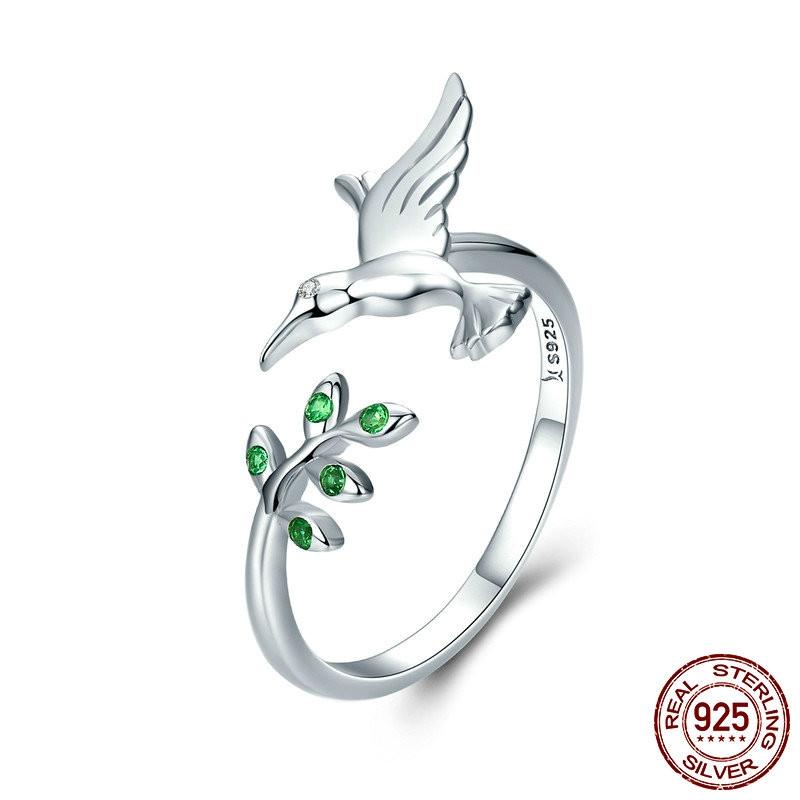 925純銀小鳥和春天樹葉開口式女士戒指珠寶