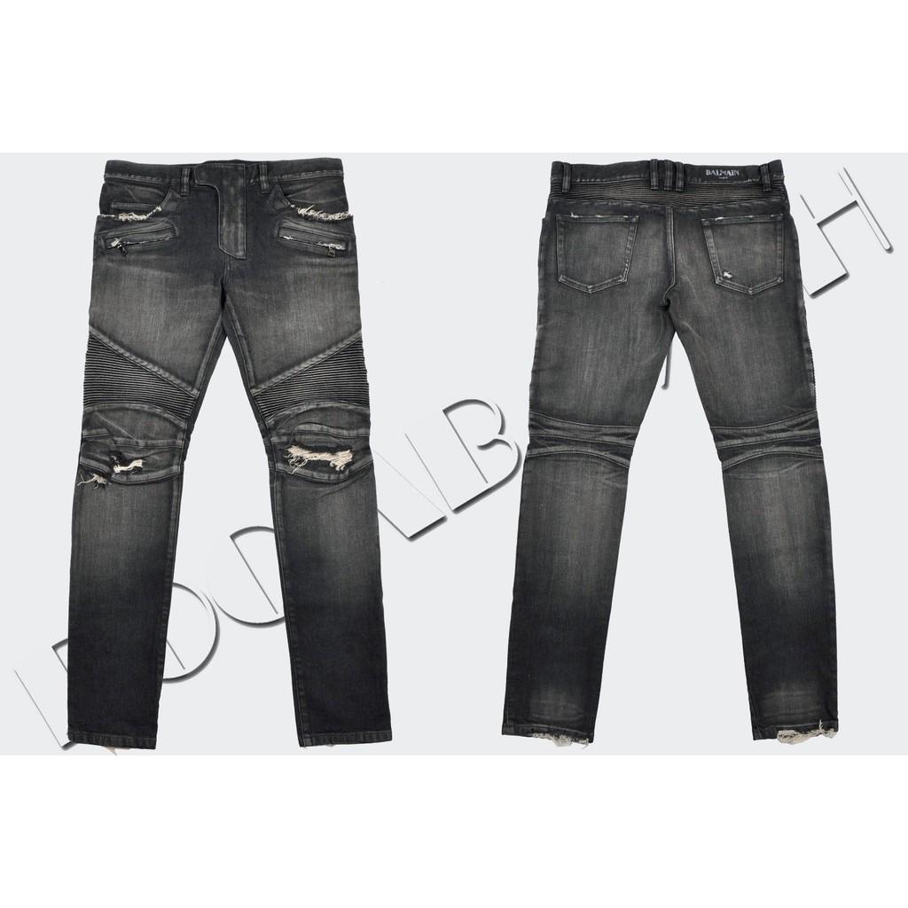 最新款現貨Balmain JEANS牛仔褲 歐美風破洞時尚男士牛仔褲 巴爾曼彈力修身牛仔褲 刀割牛仔褲