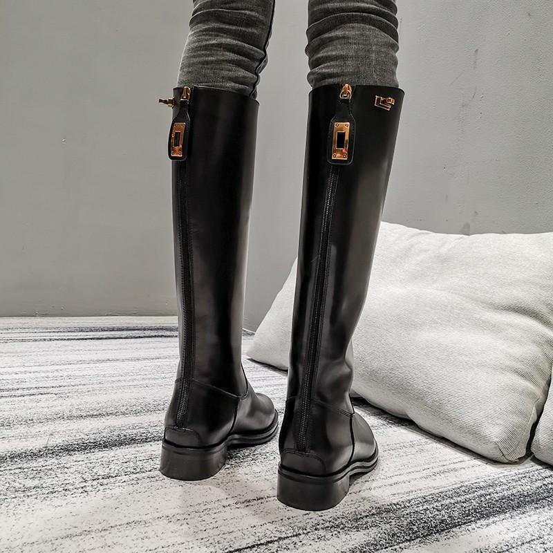 【清倉特價】真皮長筒靴馬丁靴女英倫風騎士靴高筒靴冬后拉鏈長靴