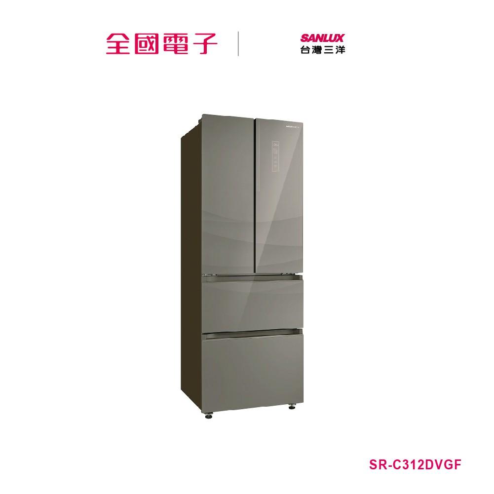 SANLUX台灣三洋 312L四門采晶玻璃變頻冰箱棕 SR-C312DVGF【全國電子】