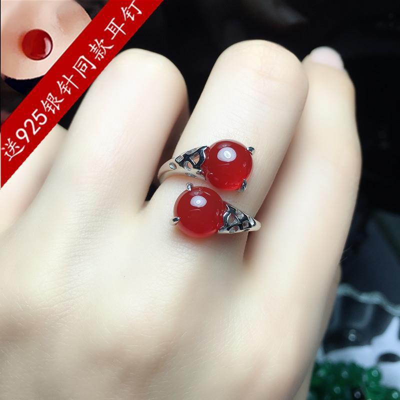 天然紅玉髓寶石戒指S925純銀女時尚個性瑪瑙食指指環本命年禮物