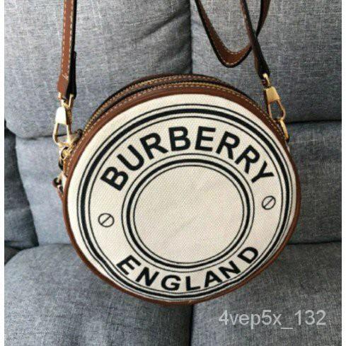 妮妮二手Burberry 巴寶莉新款logo淺米色拼棕色徽標圓餅手包腰包單肩斜挎包現貨