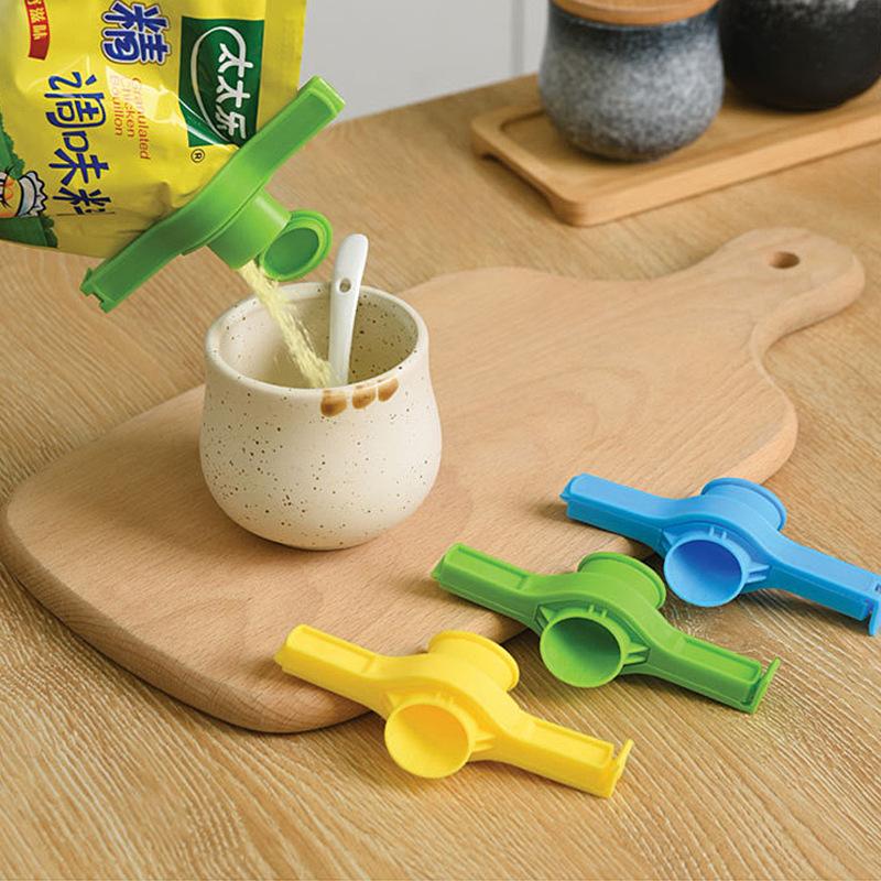 可重複使用的塑料零食密封夾 / 保鮮密封鑷子 / 廚房小工具食品存儲密封夾, 帶排放噴嘴