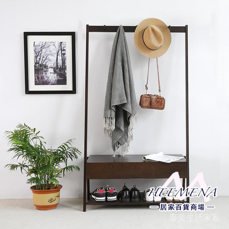 日式簡約實木多功能衣帽架落地玄關換鞋凳鞋架掛衣架一體置物架子