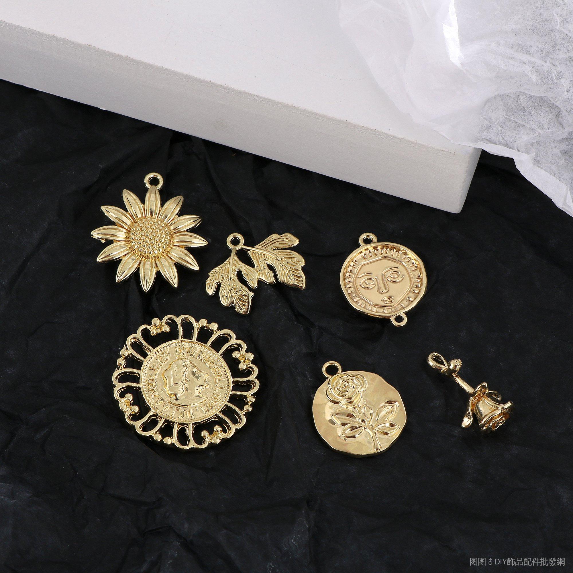 手工DIY/復古楓葉玫瑰向日葵花朵人頭像合金吊墜DIY手工飾品耳環配件材料