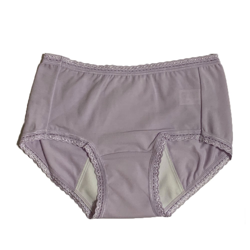 【MatchShop】台灣製素色短蕾絲中腰生理褲-淺紫