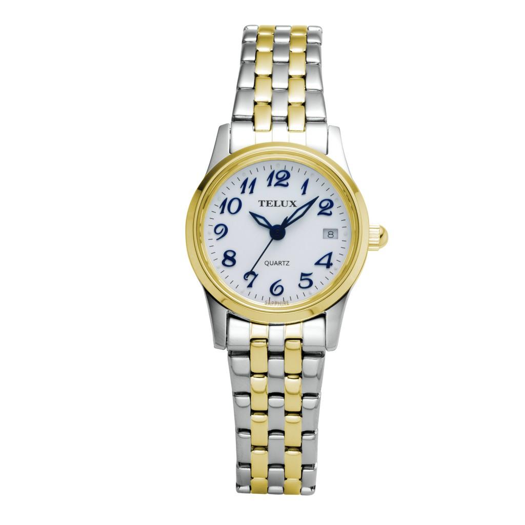 [缺貨中]台灣品牌手錶腕錶【TELUX鐵力士】見證系列女腕錶手錶21MM台灣製造石英錶7775TG-W20中金白面數字